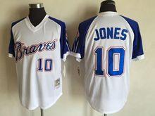 Mens Mlb Atlanta Braves Custom Made White&blue Sleeve 1974 Throwbacks Jersey