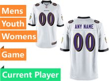 Mens Women Youth Nfl Baltimore Ravens White Game Current Player Jersey