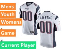 Mens Women Youth Nfl New England Patriots White Game Current Player Jersey