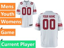 Mens Women Youth Nfl New York Giants White Game Current Player Jersey