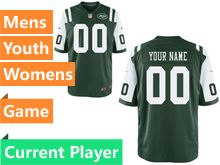 Mens Women Youth Nfl New York Jets Green Game Current Player Jersey