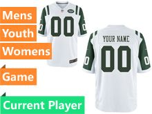 Mens Women Youth Nfl New York Jets White Game Current Player Jersey