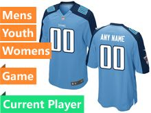 Mens Women Youth Nfl Tennessee Titans Light Blue Game Current Player Jersey