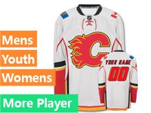 Mens Women Youth Reebok Calgary Flames White Away Premier Current Player Jersey