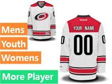Mens Women Youth Reebok Carolina Hurricanes White Away Premier Current Player Jersey