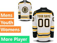 Mens Women Youth Reebok Boston Bruins White Away Premier Current Player Jersey