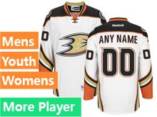 Mens Women Youth Reebok Anaheim Ducks White Away Premier Current Player Jersey