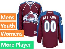 Mens Women Youth Reebok Colorado Avalanche Red Home Premier Current Player Jersey
