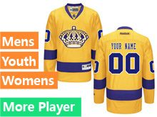 Mens Women Youth Reebok Los Angeles Kings Gold Alternate Premier Current Player Jersey