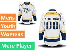 Mens Women Youth Reebok Nashville Predators White Away Premier Current Player Jersey