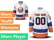 Mens Women Youth Reebok New York Islanders White Away Premier Current Player Jersey