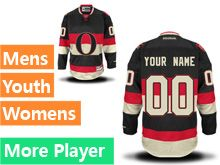 Mens Women Youth Reebok Ottawa Senators Black White Alternate Premier Current Player Jersey