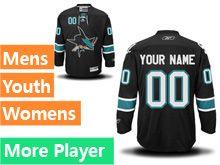 Mens Women Youth Reebok San Jose Sharks Black Alternate Premier Current Player Jersey