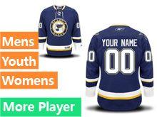 Mens Women Youth Reebok St.louis Blues Blue Alternate Premier Current Player Jersey