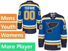 Mens Women Youth Reebok St.louis Blues Blue Home Premier Current Player Jersey