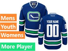 Mens Women Youth Reebok Vancouver Canucks Blue Alternate Premier Current Player Jersey