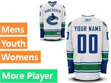 Mens Women Youth Reebok Vancouver Canucks White Away Premier Current Player Jersey