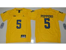 Youth Ncaa Nfl Jordan Brand Michigan Wolverines #5 Jabrill Peppers Yellow Limited Jersey