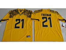 Mens Ncaa Nfl Oregon Ducks #21 Royce Freeman Yellow Color Rush Limited Jersey