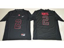 Mens Ncaa Nfl Alabama Crimson Tide #2 Jalen Hurts Black Shadow Fashion Jersey