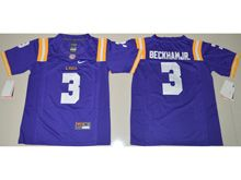 Youth Ncaa Nfl Lsu Tigers #3 Beckham Jr. Purple Limited Jersey