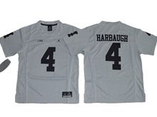 Youth Ncaa Nfl Jordan Brand Michigan Wolverines #4 Jim Harbaugh Gridion Grey Ii Jersey