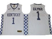 Mens Ncaa Nba Kentucky Wildcats #1 John Calipari White College Basketball Jersey