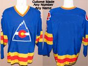 Mens Nhl Colorado Rockies Custom Made Blue Throwbacks Vintage Jersey