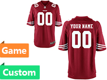 Mens Women Youth Nfl San Francisco 49ers (custom Made) Red Game Jersey