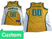 Mens Women Youth Nba Seattle Supersonics Custom Made Yellow Jersey