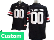 Mens Women Youth Ncaa Nfl Ohio State Buckeyes Custom Made Black & White Limited Star Back Jersey