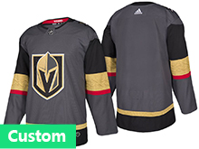 Mens Women Youth Vegas Golden Knights Custom Made Gray Authentic Player Adidas Jersey