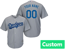 Mens Womens Youth Mlb Los Angeles Dodgers (custom Made) Cool Base Gray Jersey