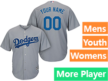 Mens Womens Youth Majestic Los Angeles Dodgers Gray Cool Base Current Player Jersey