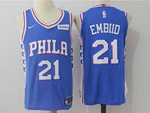 Mens Nba Philadelphia 76ers #21 Joel Embiid Blue Nike Jersey