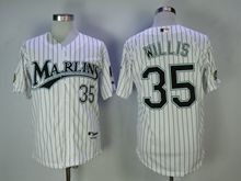 Mens Mlb Miami Marlins #35 Willis White Black Stripe Cool Base Jersey