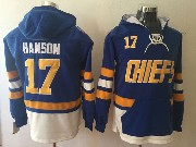 Mens Slap Shot Charlestown Chiefs #17 Steve Hanson Blue One Front Pocket Hoodie Jersey