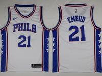 Mens 2017-18 Season Nba Philadelphia 76ers #21 Joel Embiid White Swingman Nike Jersey
