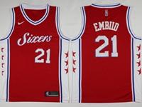 Mens 2017-18 Season Nba Philadelphia 76ers #21 Joel Embiid Red Swingman Nike Jersey