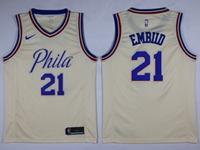 Mens 2017-18 Season Nba Philadelphia 76ers #21 Joel Embiid Cream City Edition Swingman Nike Jersey