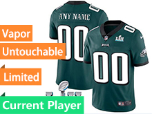 Mens Women Youth Nfl Philadelphia Eagles Green 2018 Super Bowl Lii Bound Current Player Vapor Untouchable Limited Jersey