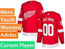 Mens Women Youth Adidas Detroit Red Wings Red Home Current Player Jersey
