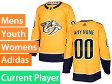 Mens Women Youth Adidas Nashville Predators Gold Home Current Player Jersey