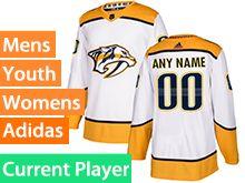Mens Women Youth Adidas Nashville Predators White Away Current Player Jersey