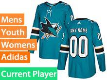 Mens Women Youth Adidas San Jose Sharks Green Home Current Player Jersey