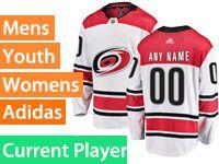 Mens Women Youth Adidas Nhl Carolina Hurricanes Away White Premier Current Player Jersey