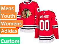 Mens Women Youth Nhl Chicago Blackhawks Custom Made Red Adidas Jersey