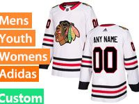 Mens Women Youth Adidas Chicago Blackhawks White Away Custom Made Jersey