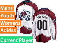 Mens Women Youth Adidas Colorado Avalanche White Away Current Player Jersey