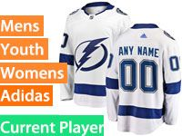 Mens Women Youth Adidas Tampa Bay Lightning White Away Current Player Jersey